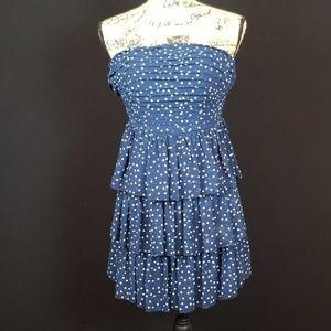 Jodi Kristopher strapless blue dot tiered dress B4
